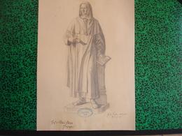 Konigl. Technische Hochschule Munchen Vorprufung 1906 Paul Dfauer Professor, Fritz Huber, Fusain Moine Religieux (20-394 - Pastel