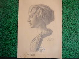 Konigl. Technische Hochschule Munchen Vorprufung 1906 Paul Dfauer Professor, Fritz Huber, Fusain Buste De Femme (20-395) - Pastel