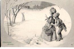 CPA  -  Enfants  Sous La Neige  Avec Lapin  - écrite 1903 Belgique - Dessins D'enfants