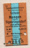 BRD - Entwertete Pappfahrkarte Edmond   --> Sonntagrück / Scheer - Mengen / 3. Kl. / 0,40 DM - Railway