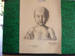 Konigl. Technische Hochschule Munchen Vorprufung 1906 Paul Dfauer Professor, Fritz Huber, Fusain Buste De Garçon (20-396 - Pastel