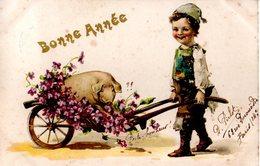 CPA  -  Enfant  - Brouette Avec Cochon Et Fleurs -  écrite - Groupes D'enfants & Familles