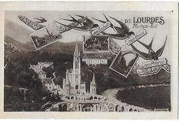 ! - France - Lourdes - Vues Diverses - De Lourdes Portez-lui - Mes Souhaits - Mes Voeux - Mes Prières - 2 Scans - Lourdes