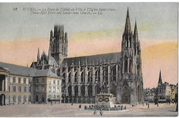! - France - Rouen - La Place De L'Hôtel-de-Ville Et L'Eglise Saint-Ouen - 2 Scans - Rouen