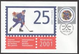 2001- International Postal Hockey Tournament S44 Denis Potvin Stamp Sc 1885d - Enveloppes Commémoratives