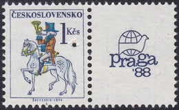 Specimen, Czechoslovakia Sc2675 Post Rider, PRAGA 88, Horse, Exposition Philatélique, Cheval - Esposizioni Filateliche