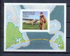 Cote D'ivoire (Ivory Coast) 012 Bloc N°7 Non Dentelé Imperforate Lindbergh Aviation Avion (plane Planes Avions) MNH ** - Flugzeuge