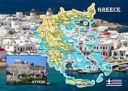 Greece Country Map New Postcard Griechenland Landkarte AK - Grecia