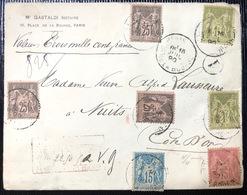 Lettre Chargé En VD De 3500FR Tarif 3fr 65c Quadricolore ! Sage N°81, 82 X2 , 90 & 97 X3 De Paris Pour Nuits RRR ! - 1898-1900 Sage (Type III)