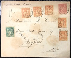 Lettre Chargé En VD De 10000FR à 2fr 55c Avec Tricolore Sage N°75, 94 X5 & 98 Pour Alger  RRR ! - 1898-1900 Sage (Type III)