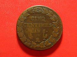 France - 5 Centimes An 8/5 A/R Paris Sur Orléans Dupré 8107 - France