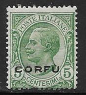 Corfu, Scott # N1 Mint Hinged Italy Stamp Overprinted, 1923, One Short Perf - 8. WW I Occupation