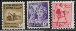 Italy Social Republic Scott # 22, 27-8 Mint Hinged Various Subjects, 1944 - 4. 1944-45 Social Republic