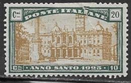 Italy Scott # B20 Mint Hinged Semi Postal St. Maria Maggiore, 1915--24, Poorly Repaired Tear - 1900-44 Vittorio Emanuele III