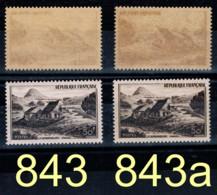 YVERT 843a + 843 N** MNH - 50 Francs, Sites Et Monuments, Le Gerrbier De Jonc (VIVARAI)- SCAN RECTO-VERSO = SANSURPRISE - Varietà E Curiosità