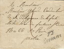 1831-enveloppe Avec  Cursive 72 / Essonnes ( Essonne ) NOIRE   Pour Paris - Storia Postale
