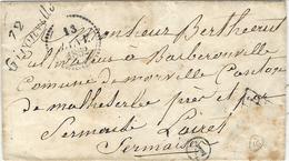 1852- Cursive 72 / GIRONVILLE ( Essonnes ) NOIRE + Cachet B  - Timbre Décollé En Bas à Droite - Storia Postale