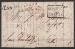 """Suède - L. Datée 18 Novembre 1837 Càd Rect. """"STRÖMSTAD /18-11-37"""" Pour Cette (Sète) - Griffe """"LPr4"""" + """"HAMBURG/28.NOV"""" + - Suède"""