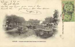 CHOLON Jonques échouées Dans L'arroyo à Marée Basse + Timbres 5c X2 Surchargés INDO-CHINE Cachet Saigon Central RV - Vietnam