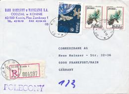 POLAND / POLEN / KONIN   -   13.5.96  ,  R-Brief Mit Mischfrankatur Alte + Neue Zloty   -   Kartka Pocztowa - Lettres & Documents