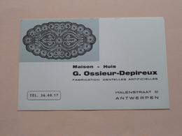 Maison OSDE Antwerpen HALENSTRAAT 51 Rue De Halen OSSIEUR-DEPIREUX Dentelles / Kant ( Zie Foto's ) 2 Pcs. ! - Visiting Cards