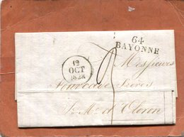 LETTRE DE BAYONNE - Storia Postale