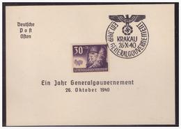 GG (005275) WKII  Deutsche Post Osten Mit Sonderstempel 6a, Ein Jahr Generalgouvernement, 26.10.1940 Krakau - Besetzungen 1938-45