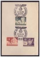 GG (005276) WKII Gedenkblatt Mit MNR 56/ 58 Mit Sonderstempel  6b Ein Jahr GG, Lublin 26.10.1940 - Besetzungen 1938-45