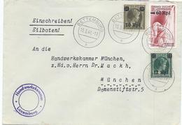 Einschreibebrief (ohne Inhalt) - Handelskammer, Luxemburg - Stempel Bettemburg 15-03-1941 Nach München, Handelskammer - Marcophilie - EMA (Empreintes Machines)