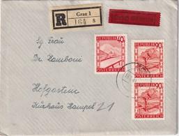 AUTRICHE 1948 LETTRE RECOMMANDEE EXPRES DE GRAZ AVEC CACHET ARRIVEE BAD HOFGASTEIN - 1945-.... 2a Repubblica