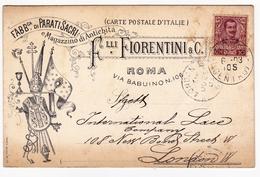 Roma 1903 Italia Fiorentini Via Babuinoni Parati Sacri Antichita London England - Marcofilie