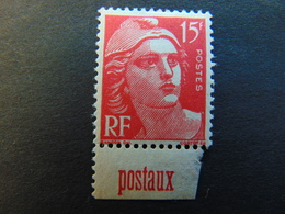 Superbe N°. 258** Type Marianne De Gandon à 15 Francs Avec Pub Poste - Publicités
