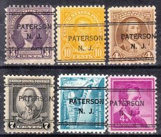 USA Precancel Vorausentwertung Preo, Locals New Jersey, Paterson 243, 6 Diff. Perf. 11x10 1/2 - United States