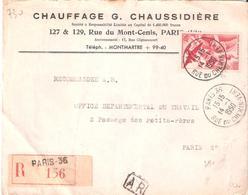 50f.P.A. ALLEGORIE Oblitéré PARIS 35 Seul Sur Lettre Recommandée - Poststempel (Briefe)