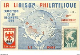 FRANCE.n°19952.CARTE MAXIMUM.1946.LA LIAISON PHILATELIQUE.EXPOSITION28-29 DECEMBRE 1946 - Cartes-Maximum