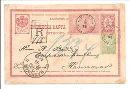 Carte Postale Rustschuk Registered-Récommander 14.101893>Hannover - Postal Stationery