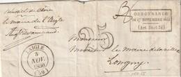 Lettre De LAIGLE (Orne) Avec 3 MP Superbes. Taxe 25 (?)  En Référence à L'ordonnance De 1844 . Cachet Rare. - Marcophilie (Lettres)