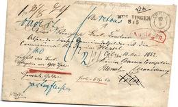 PREUSSEN XX003 /  Geldbrief Wesslingen (Landkreis Bonn)  Nach Köln 1852 - Pruisen