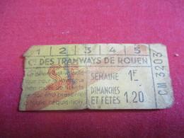Tramway Ticket Ancien Usagé/Cie Des TRAMWAYS De ROUEN/ Valable Pour Le Voyageur Non Muni De Ticket/Vers 1925-1945 TCK118 - Tram