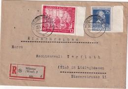 ALLEMAGNE 1948 ZONE AAS LETTRE RRECOMMANDEE DE MÜNSTER AVEC CACHET ARRIVEE LÜDINGSHAUSEN - Zone AAS