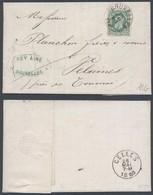 émission 1869 - N°30 Sur LAC Obl Essai à Pointillé De Bruxelles (1880) Vers Velaines, Près De Tournai. - 1869-1883 Leopold II