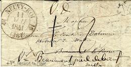 1841- Lettre De NEUVY-ROI ( Indre Et Loire ) Cad T12- Taxe 1 D Barré Puis 2d-au Dos, Cursive 36 / Neyulqé-Pont-Pierre - Storia Postale