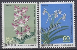 Japan - Japon 1987 Yvert 1623-24, Flowers, 12th Orchid World Conference - MNH - 1926-89 Imperatore Hirohito (Periodo Showa)