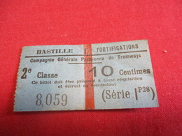 Tramway Ticket Ancien Usagé/Cie Générale Parisienne De Tramways/10 Cent /BASTILLE Fortifications/Vers 1900-1920   TCK124 - Tram