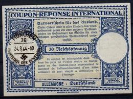 ALLEMAGNE GERMANY DEUTSCHLAND Lo12p 30 Rpf. Int.Reply Coupon ReponseAntwortscheinIAS IRC O MÜNCHEN 36c 24.8.44 - Enteros Postales