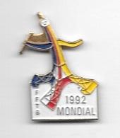 Pin's  Multicolore  Sport  F.F.T.B  MONDIAL  1992  à  PARIS  ( 75 )  Fédération Française De Twirling  Baton - Gymnastics