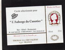 ETIQUETTE VIN RESERVEE RESTAURANT AUBERGE DU CANOTIER BAR HOTEL RESTAURANT 91 BRUNOY - Etiketten