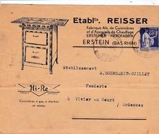 FRANCE :  Type Paix 65c Bleu Sur Enveloppe Illustrée Ets Reisser Erstein - 1921-1960: Modern Period