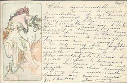 Jeune Femme Aux Fleurs Rouges , Illustrateur : Alphonse MUCHA , 1901 - Mucha, Alphonse