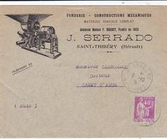 FRANCE :  Type Paix 40c  Sur Enveloppe Illustrée Fonderie Serrado De Saint-Thibéry CaD De 1935 - 1921-1960: Modern Period